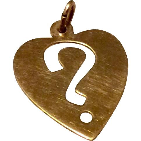 Vintage Silver Gilt Heart Shaped ? Mark Charm