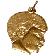 Vintage Gold Filled Boys Head Silhouette Charm