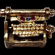 Vintage Gold Tone Metal Typewriter  Charm