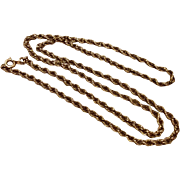 Vintage 12 K Gold Filled Rope Chain 24""