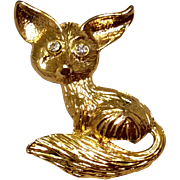 Vintage Gold Tone Metal Fox Brooch