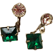 Vintage Emerald Green Rhinestone And Clear Rhinestone Dangle Earrings