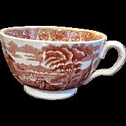 Brown Transferware Coffee Cup