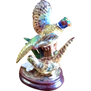 Vintage Hand Painted Pair Of Pheasants Figurine