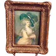 Ornate Gold Gilt Gesso & Wood Frame With Convex Glass Glass
