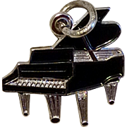 Vintage Sterling Silver Black Enamel Grand Piano Charm