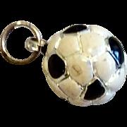Sterling Silver 925 Black  White Enamel Soccer Charm