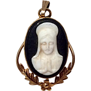 Vintage 12 K Gold Filled Virgin Mary Cameo Pendant