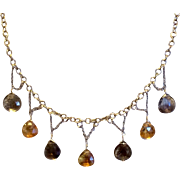 Vintage Gold Filled Genuine Faceted Topaz Dangle Necklace