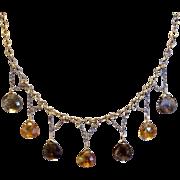 Vintage Gold Filled Genuine Faceted Topaz Dangle Necklace