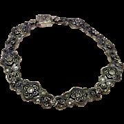 Vintage Sterling Silver Marcasite Flexible Link Bracelet