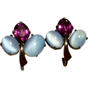 Vintage Sterling Silver Faux Moonstone Amethyst Paste Rhinestone Screw Back Earrings