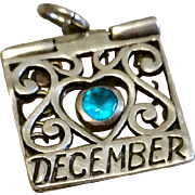 Vintage Sterling Silver December Blue Topaz You Are Friendly Mechanical Charm