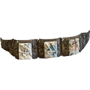 Vintage Chinese Silver Filigree Scrimshaw Story Bracelet