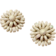 Vintage Made In Western Germany White Bead Clip Earrings