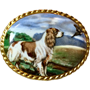 English Ansley Hand Painted Springer Spaniel Brooch