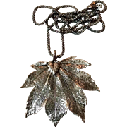 Vintage Sterling Silver Canadian Maple Leaf Pendant Necklace