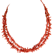 Vintage Natural Salmon Branch Coral Double Strand  Necklace