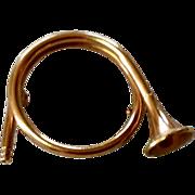 Vintage Gold Filled French Horn Brooch