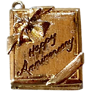 Vintage Gold Tone Metal Happy Anniversary Charm