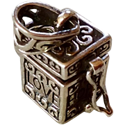 Vintage Sterling Silver Mechanical Love Chest Charm