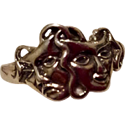 Vintage Sterling Silver Comedy & Tragedy Ring