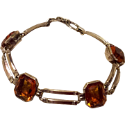 Art Deco 10 K Gold Filled Citrine Glass Flexible Link Bracelet