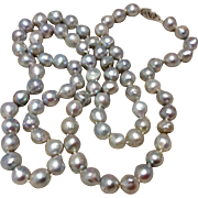 Classic Vintage 14K White Gold Silver Grey Baroque Pearl Necklace