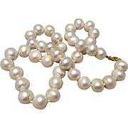 Classic Vintage 14K Gold Cultured 10 MM Pearl Necklace