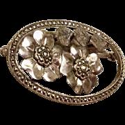 Vintage Sterling Silver Marcasite Floral Brooch