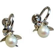 Vintage Sterling Silver 925 Faux Pearl Screw Back Earrings