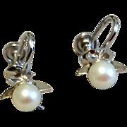 Vintage Sterling Silver 925 Faux Pearl Screw Back Earrings