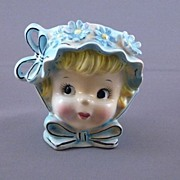 Vintage Girl Lady Head Vase, Japan