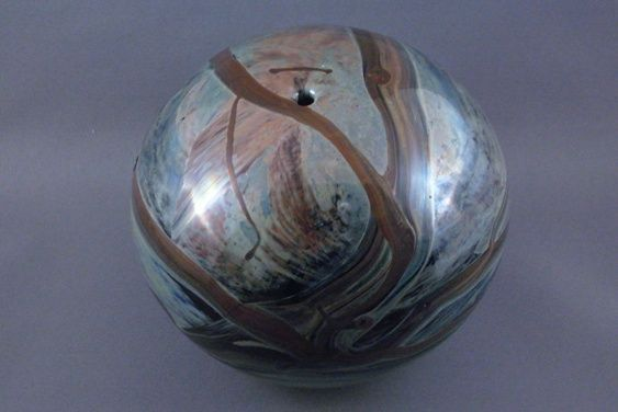 Vintage round art glass vase or paperweight signed john for Anderson art glass