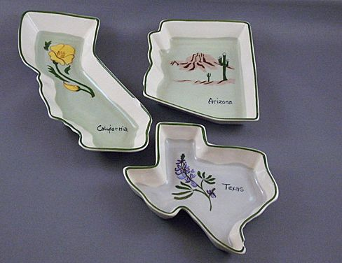 Vintage 1950's Annie Laura Pottery Souvenir Dishes, California, Arizona and Texas