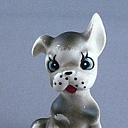 Vintage Ceramic Cartoonish Boxer or Terrier Dog Figurine, Japan
