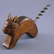 Vintage Carved Wood Cat or Dog Corkscrew