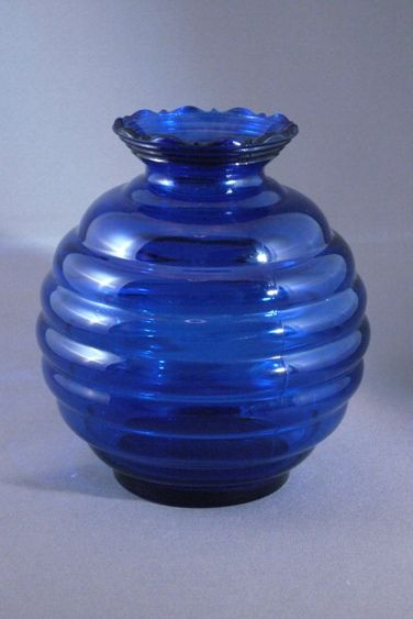 Vintage Cobalt Blue Glass Beehive Or Ball Shaped Vase Usa