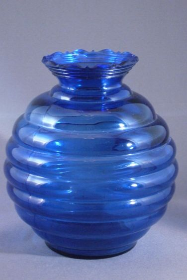 Vintage Cobalt Blue Glass Beehive Shaped Vase, USA