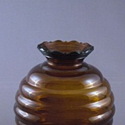 Vintage Amber Brown Glass Beehive or Ball Shaped Vase, USA