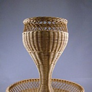Vintage Woven Rattan Two-Tier Basket