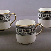 Crown Staffordshire 'Black Victoria' China Demitasse Cups