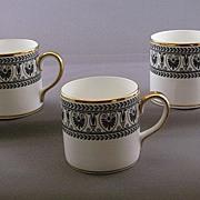 Crown Staffordshire 'Black Victoria' China Demitasse Cups