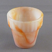 Vintage White & Orange Ribbed Slag Glass Flower Pot