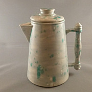 Vintage Pottery Pitcher with Lid, Spatter and Drip Pattern