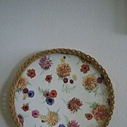 Vintage 1950's Round Wicker And Wood Serving Tray