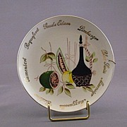 Vintage Cheese Plate with a Wine and Fruit Scene in the Center
