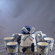 Vintage Ceramic Windmill Teapot and Cups
