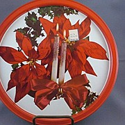 Vintage Metal Christmas Trays with Holiday Decorations