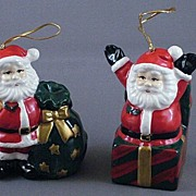 Two Ceramic Santa Bell Ornaments
